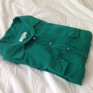 Barney's New York equipment dress blouse green XS